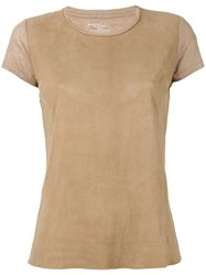 Majestic Filatures Panel T Shirt Women Linen Flax Leather 1 Brown