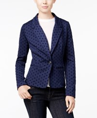Kensie Long Sleeve Polka Dot Blazer Darkest Navy Combo