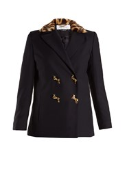 Muveil Double Breasted Leopard Print Collar Woven Jacket Navy
