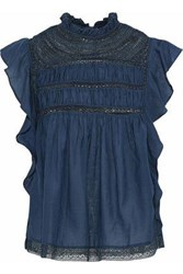 Love Sam Crochet Paneled Ruffled Gauze Blouse Cobalt Blue