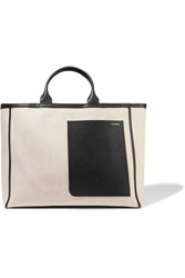 Valextra Shopping Leather Trimmed Canvas Tote Beige