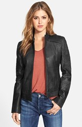 Women's 7 For All Mankind Pintuck Detail Leather Jacket Black
