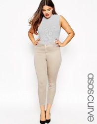 Asos Curve Rivington Ankle Grazer Jeggings In Stone Putty Wash Stoneputty
