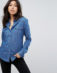 Boss Orange Coffee Bean Embroidered Shirt Dark Blue