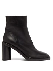 Acne Studios Booker Square Toe Leather Ankle Boots Black