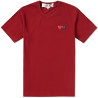 Comme Des Garcons Play Double Heart Tee Burgundy