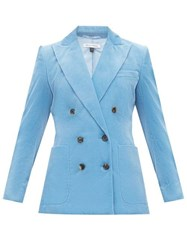 Bella Freud Bianca Double Breasted Cotton Corduroy Blazer Blue