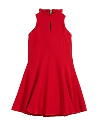 Zoe Cleo Crepe Knit Sleeveless Halter Dress Red
