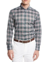 Brioni Plaid Button Front Shirt Green Pink Multi
