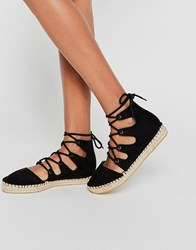 Asos Jolt Lace Up Espadrilles Black