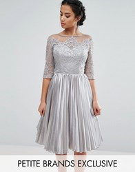 Chi Chi Petite London Allover Lace Top Prom Dress With Pleated Skirt Gray