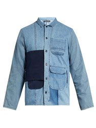 Longjourney Utility Button Patch Cotton Denim Shirt Light Indigo