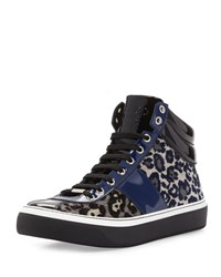 Jimmy Choo Belgravi Men's Leopard Print High Top Sneaker Black Dark Navy
