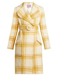 Alexachung Belted Checked Wool Blend Coat White Print