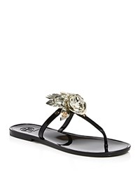 Tory Burch Blossom Jelly Thong Sandals Black Spark Gold