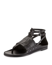 Cynthia Vincent Jinxed Leather Thong Sandal Black