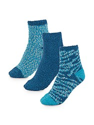 Ellen Tracy Three Pack Solid And Patterned Ankle Socks Blue Combo