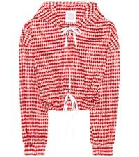 Rosie Assoulin Hoodie Crinkle Gingham Cropped Jacket Red
