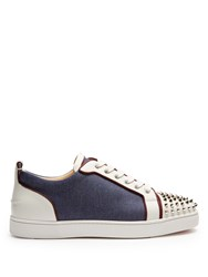 Christian Louboutin Louis Junior Spike Embellished Low Top Trainers Blue