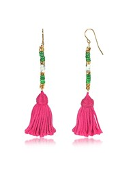 Aurelie Bidermann 18K Gold Plated And Green Jaspe And White Bamboo Beads Sioux Earrings W Pink Cotton Tassels