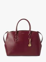 Ralph Lauren Bennington Large Double Zip Leather Satchel Bordeaux