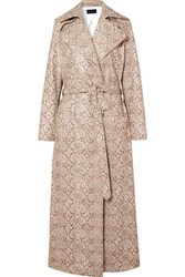Michael Lo Sordo Snake Effect Faux Leather Trench Coat Snake Print