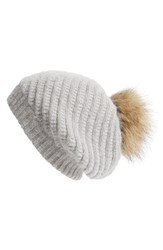 Women's Linda Richards Slouchy Angora Blend Beanie With Genuine Raccoon Pom Grey