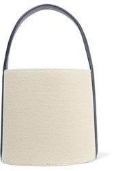Solid And Striped Staud Leather Trimmed Cotton Canvas Bucket Bag Ecru