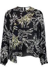 Tanya Taylor Alyssa Wrap Effect Printed Silk Georgette Blouse Black