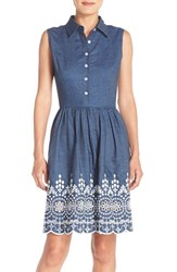 Women's Maia Embroidered Denim Fit And Flare Dress