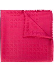Bally Fringed Jacquard Scarf Pink And Purple