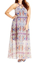 Plus Size Women's City Chic 'Peacock Tile' Print Cross Neck Maxi Dress