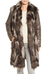 Nic Zoe Women's Puffer Sleeve Faux Fur Coat
