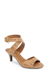 J. Renee Women's 'Soncino' Ankle Strap Sandal Natural Gold Fabric