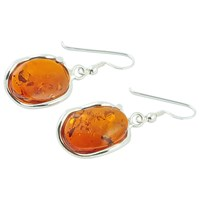 Be Jewelled Sterling Silver Free Form Oval Amber Drop Earrings Orange