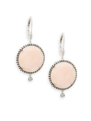 Meira T Opal 14K White Gold And Silver Drop Earrings No Color
