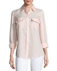 Go Silk Long Sleeve Button Front Linen Top Plus Size Soft Pink