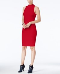 Bar Iii Mock Neck Ribbed Bodycon Dress Only At Macy's Chili Red