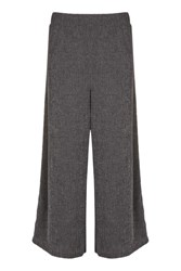 Topshop Petite Textured Wide Leg Trousers Charcoal