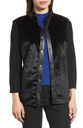 Ming Wang Faux Fur Snap Front Jacket Black