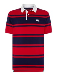 Canterbury Of New Zealand Stripe Loop Collar Rugby S S Red