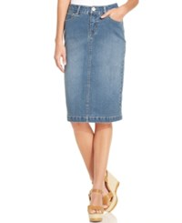 Styleandco. Style And Co. Petite Tummy Control Sea Glass Wash Denim Skirt Only At Macy's