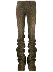 R 13 R13 Leopard Print Gathered Skinny Trousers Brown