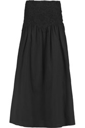 See By Chloe Crochet Paneled Cotton Voile Maxi Skirt Black