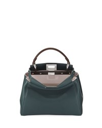 Fendi Peekaboo Mini Bicolor Satchel Bag Green