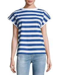 Mih Jeans Plage Striped Tee Blue White