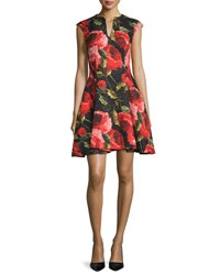Naeem Khan Cap Sleeve Floral Print Cocktail Dress Black Red