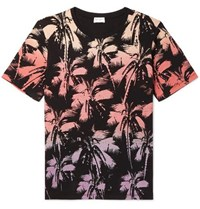 Saint Laurent Printed Cotton Jersey T Shirt Multi