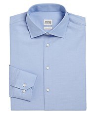 Giorgio Armani Slim Fit Diamond Textured Dress Shirt Frost Blue