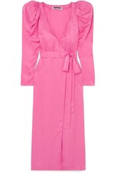 Rotate Pleated Satin Wrap Maxi Dress Pink